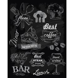 menu set on chalkboard vector image