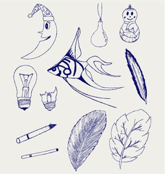 Set of Hand-Drawn Design Elements vector image vector image