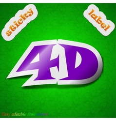 4D icon sign Symbol chic colored sticky label on vector