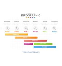 6 steps modern timeline diagram with gantt chart vector