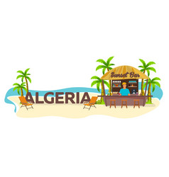 Algeria travel palm drink summer lounge chair vector