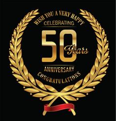 Anniversary golden laurel wreath 50 years vector