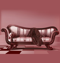 Antique couch from victorian era vector