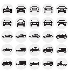 automobile icons set on circles background for vector image