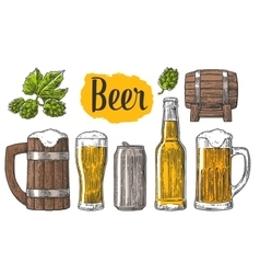 Beer class can bottle barrel vector