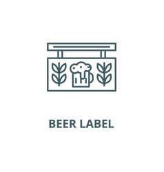 beer label line icon beer label outline vector image