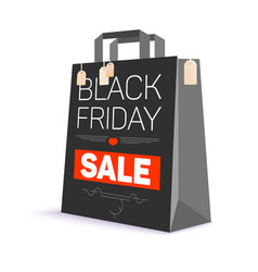 black paper shopping bag with ad text vector image