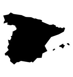 Black silhouette map of Spain vector