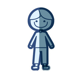 Blue color silhouette cartoon kid icon vector