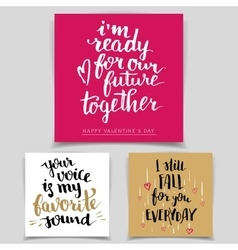 Brush calligraphy love cards set vector image vector image