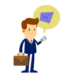 Businessman checking email with his smart phone vector