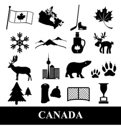 canada country theme symbols stickers set eps10 vector image