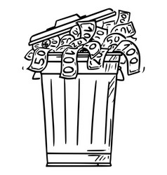 cartoon garbage can or dustbin full cash vector image