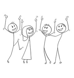 Cartoon of group of people celebrating success vector