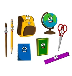 Cartoon school objects vector image