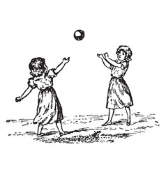 children playing vintage vector image