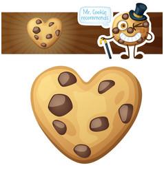 choc chip heart cookies cartoon vector image