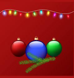 christmas balls branch of a christmas tree and vector image