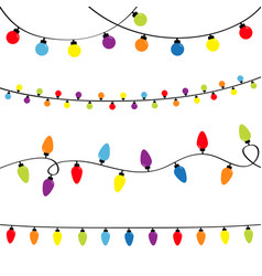 Christmas lights set holiday festive xmas vector