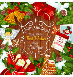 Christmas wreath card with new year holiday gift vector