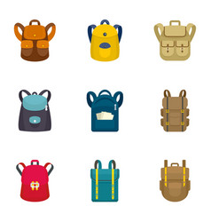 Climbing backpack icon set flat style vector