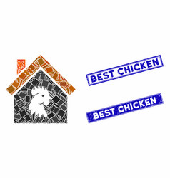 Cock house mosaic and distress rectangle stamps vector