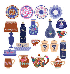 Collection beautifully ceramic and porcelain vector