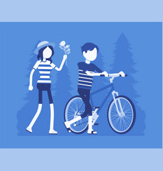 couple in park vector image