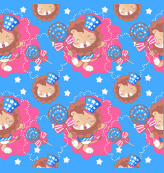 cute american lion and pattern set vector image