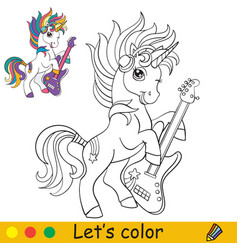 Cute and cool cartoon unicorn with a guitar vector