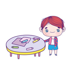 cute little boy cartoon with table and crayons vector image
