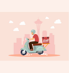 Delivery boy ride scooter in big city vector