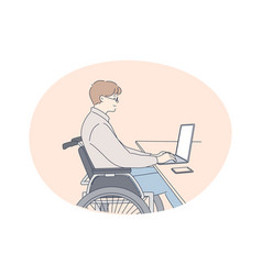disabled people on wheelchair living happy active vector image