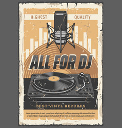 Dj vinyl records and microphone vector