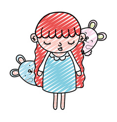 Doodle beauty girl child with mice animals vector