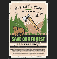 Eco forest trees bear animal duck bird and axe vector