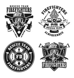 fire department set isolated emblems vector image