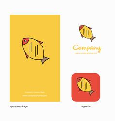 fish company logo app icon and splash page design vector image