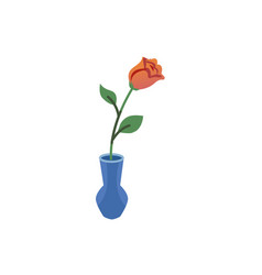 flat style of vase with red rose icon for web or vector image