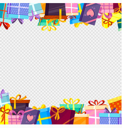 frame with gifts colored greetings packages vector image