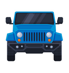 front view blue off road truck suv pickup vector image
