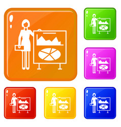 Graph board icons set color vector