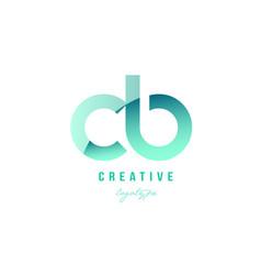 Green gradient pastel modern cb c b alphabet vector
