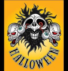 Halloween zombie skulls design vector