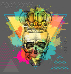 Hand drawing hipster skull with crown vector
