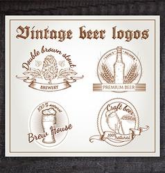 hand drawn vintage set beer logo on wooden desk vector image