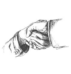 Hand sketch handshake vector image