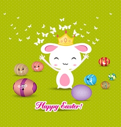 Happy easter eggs and princess bunny funny vector
