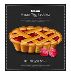 happy thanksgiving pie card 3d detailed vector image