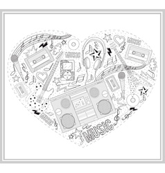 Heart from hand drawn music elements vector
